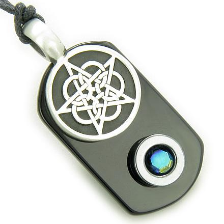 Lucky Totem Stars and Pentacle Symbols Magic Powers Dog Tag Jewelry Amulets and Talismans