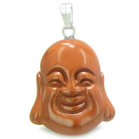 Ancient Tibetan Lucky Buddha Amulets in Red Jasper Gemstone