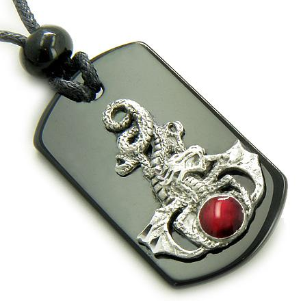 Ancient Tibetan Courage Dragon Good Luck Dog Tags Jewelry Amulets and Talismans