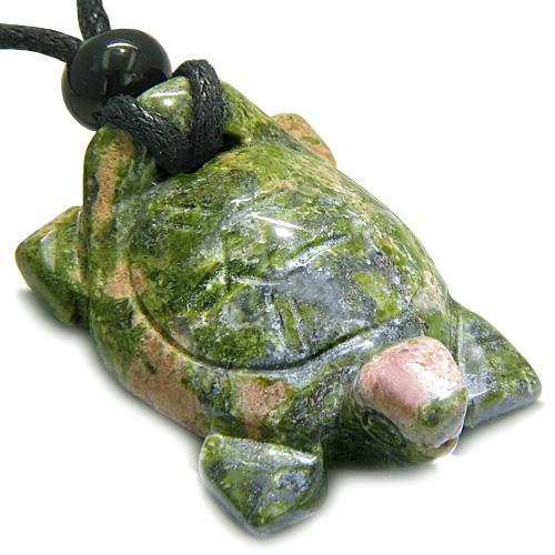 Lucky Turtle Totems Good Luck Energy Natural Unakite Gemstones Jewelry and Amulets