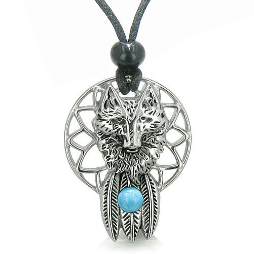 Dreamcatcher Wolf Spirit Jewelry Protection Necklaces Courage Powers Amulets and Talismans Gifts