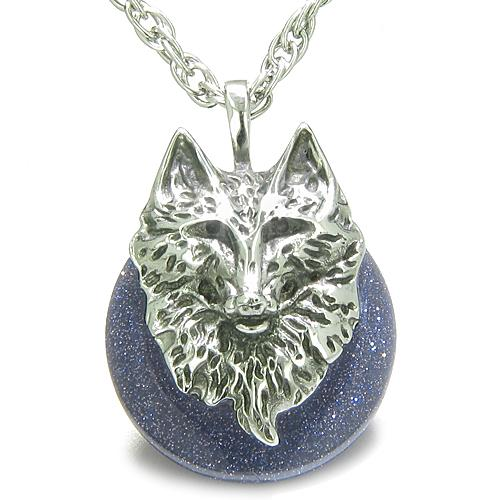 Wolf Goldstone Crystal Jewelry Necklaces Wild Spiritual Energy Amulets