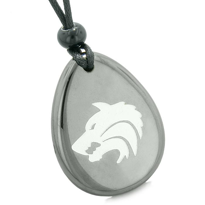 Wolf Hematite Natural Gemstone Jewelry Necklaces Wild Spiritual Powers Amulets