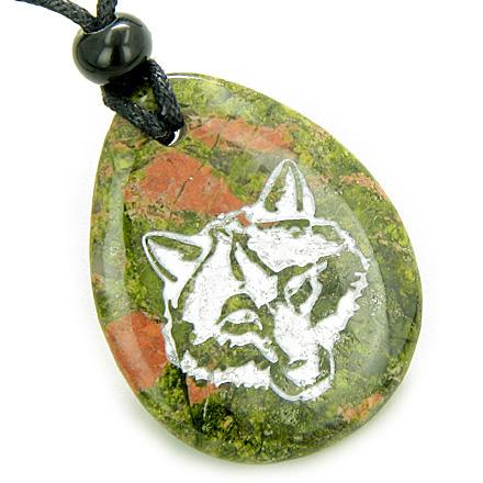 Wolf Unakite Natural Gemstone Jewelry Necklaces Wild Spiritual Powers Amulets