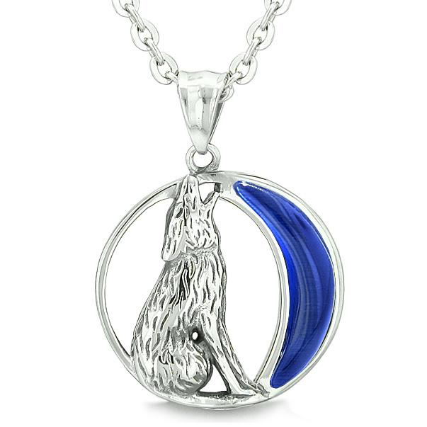 Wolf and Moon Spirit Jewelry Protection Necklaces Courage Powers Amulets and Talismans Gifts