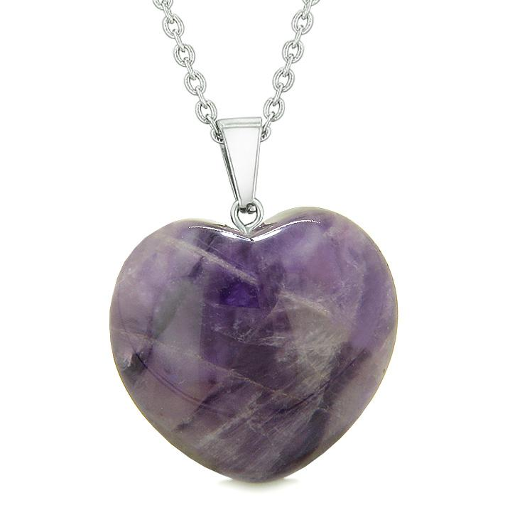 Travel Protection Talisman Amethyst and Purple Quartz Heart Shaped Jewelry and Gifts