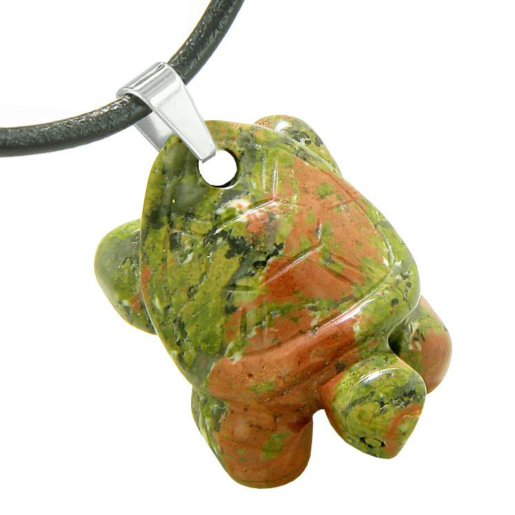 Lucky Turtle Good Luck Charms Natural Unakite Gemstones Jewelry and Amulets