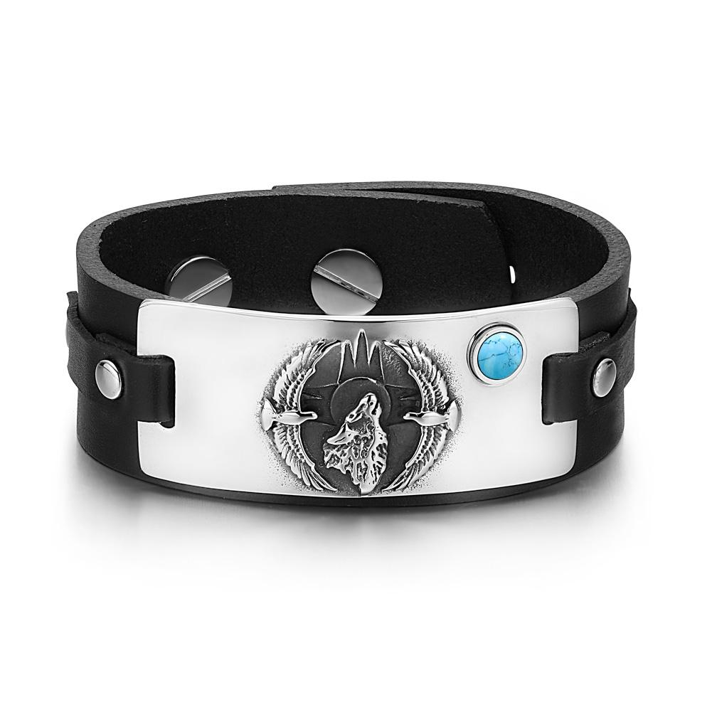 Eagle and Wolf Wild Protection Powers Amulets Fashion Unique Leather Bracelets