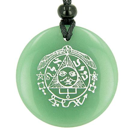 Wish Word Stones Medallion Circle Necklaces Good Luck Powers Amulets and Talismans
