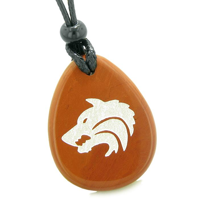Wish Word Stones Courage Wolf Necklaces Wild and Protection Powers Amulets and Talismans