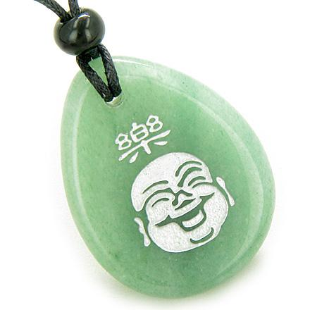 Gemstone Wish Stones Lucky Laughing Buddha Necklaces Unique Good Luck Amulets and Talismans