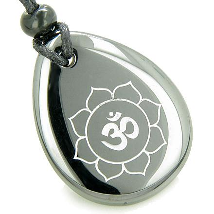 Gemstone Wish Stones Om Ohm Necklaces Unique Magic Good Luck Amulets and Talismans Gifts