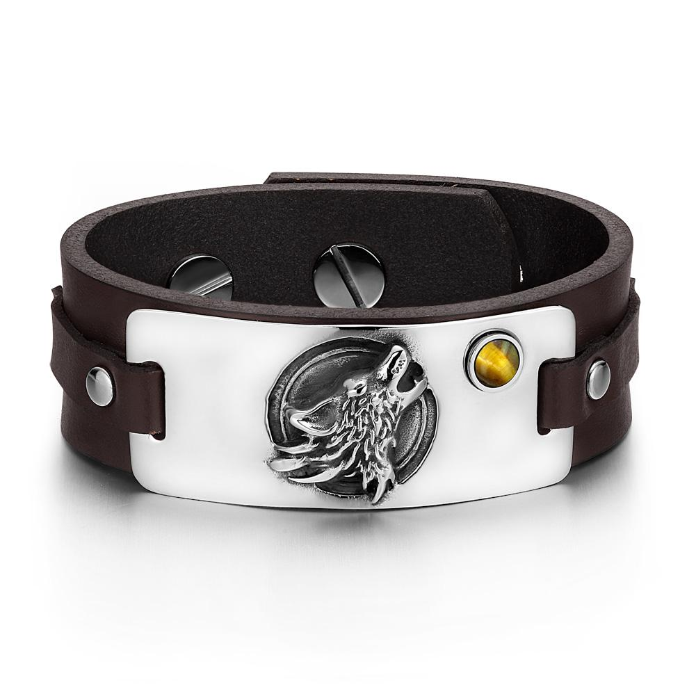 Spiritual Powers Howling Wolf and Moon Wild Powers Unique Amulets Leather Bracelets