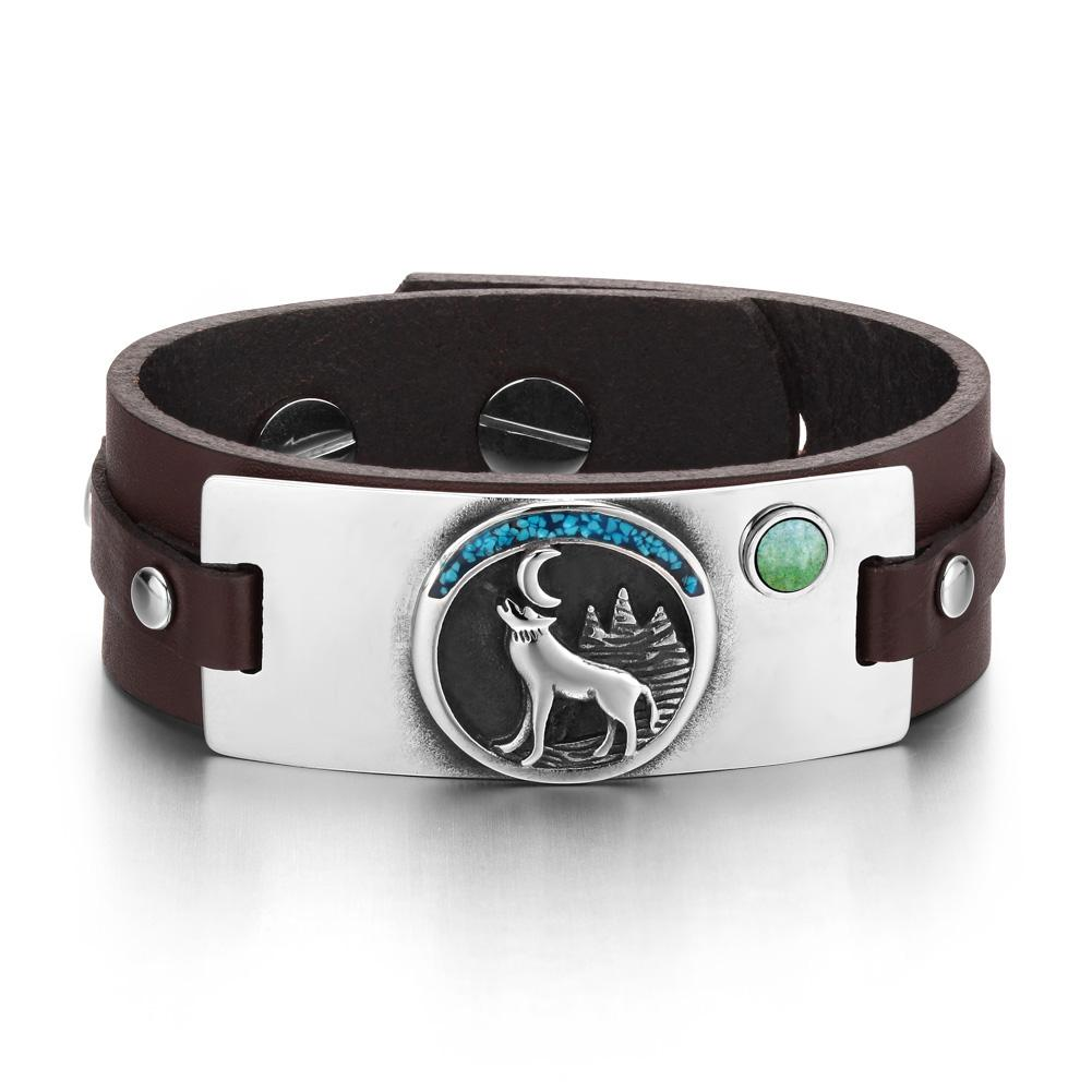 Spiritual Powers Howling Wolves and Wild Moon Energy Unique Amulets Leather Bracelets