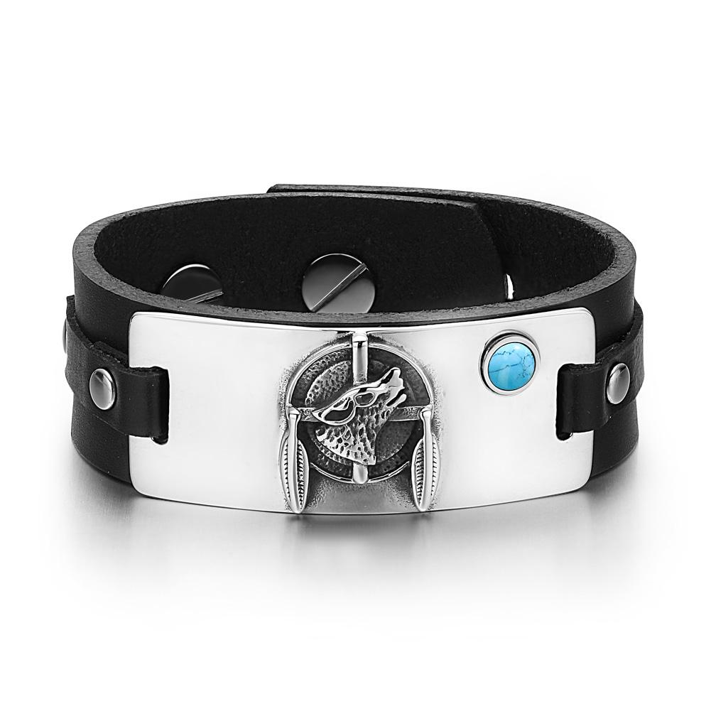Howling Wolf and Dreamcatcher Natural Energy Protection Amulets Leather Bracelets
