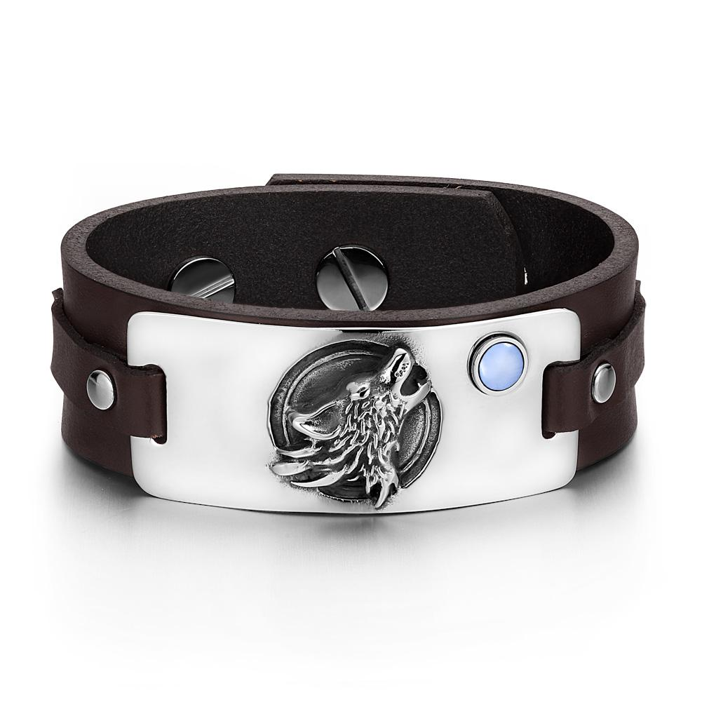 Howling Wolves and Wild Moon Natural Energy Protection Amulets Leather Bracelets