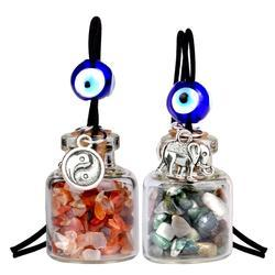 Lucky Elephant And Yin Yang Gemstone Car Charms