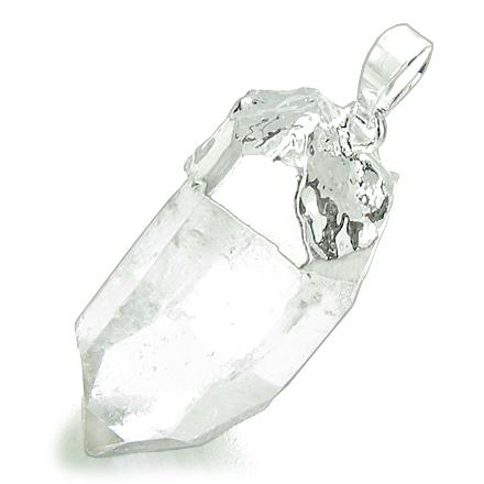 Brazilian Rough Rock Quartz Gemstone Lucky Crystal Point Amulet Silver Dipped Pendant