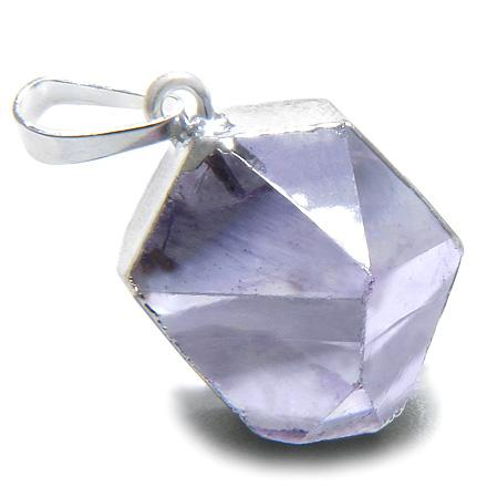 Brazilian Healing Amethyst Crystal Point Charm Amulet Gemstone Dipped in Silver Pendant