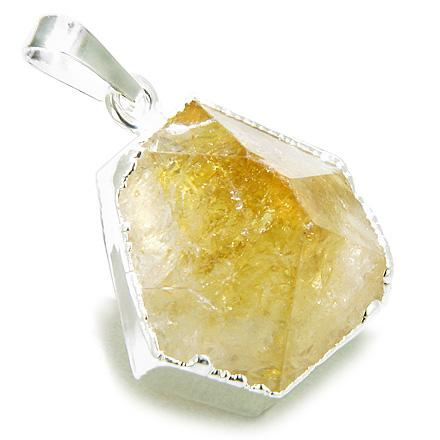 Brazilian Lucky Citrine Crystal Point Charm Amulet Gemstone Dipped in Silver Pendant