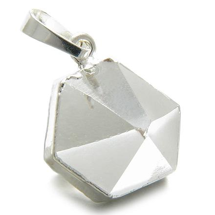 Brazilian Lucky Rock Quartz Crystal Point Charm Amulet Gemstone Dipped in Silver Pendant