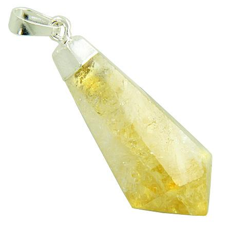 Brazilian Healing Citrine Crystal Point Amulet Gemstone Pendulum Dipped in Silver Pendant