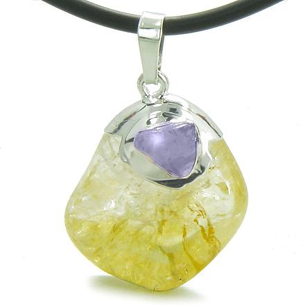 Brazilian Lucky Tumbled Citrine Crystal Tumbled Amethyst Business Attractor Amulet Charm Necklace