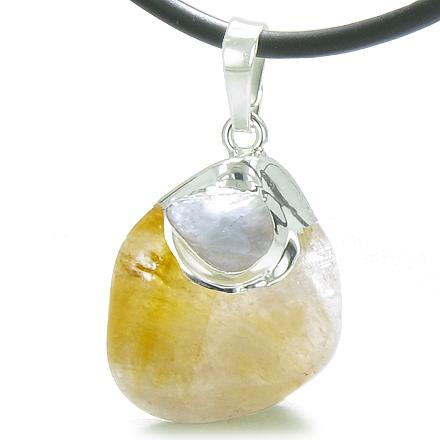 Brazilian Healing Tumbled Citrine Crystal Tumbled Aquamarine Amulet Charm Pendant Necklace