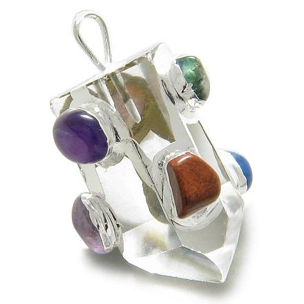 Brazilian Rock Quartz Healing Crystal Point with Tumbled Multi Crystals Agate Gemstones Pendant
