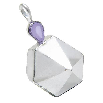 Brazilian Healing Rock Quartz Crystal Point Faceted Amethyst Charm Amulet Gemstone Pendant