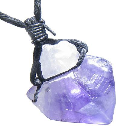 Brazilian Large Crystal Point Rough Amethyst Travel Protection Lucky Charm Amulet Pendant Necklace