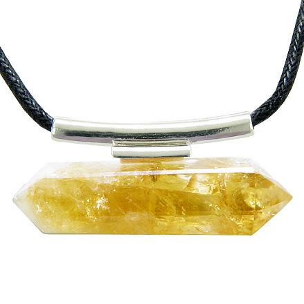 Brazilian Double Terminated Crystal Point Citrine Business Attractor Amulet Pendant Necklace