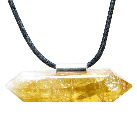 Brazilian Double Terminated Charm Crystal Point Citrine Business Attractor Amulet Pendant Necklace