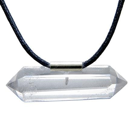 Brazilian Double Terminated Charm Crystal Point Rock Quartz Evil Protection Amulet Pendant Necklace