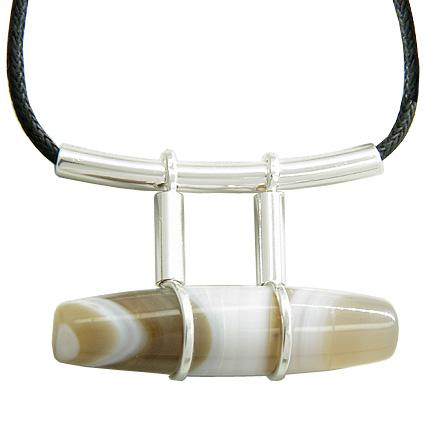 Brazilian Lucky Charm Agate Cylinder Gemstone Amulet Silver Electroplated Pendant Necklace