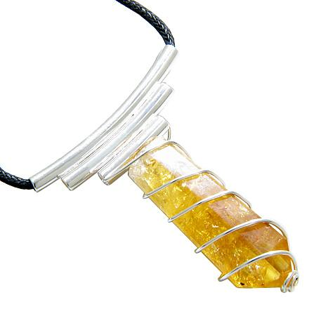 Brazilian Lucky Crystal Point Wired Cage Terminated Citrine Gemstone Amulet Necklace