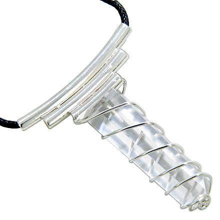 Brazilian Lucky Crystal Point Wired Cage Terminated Rock Quartz Evil Protection Amulet Necklace