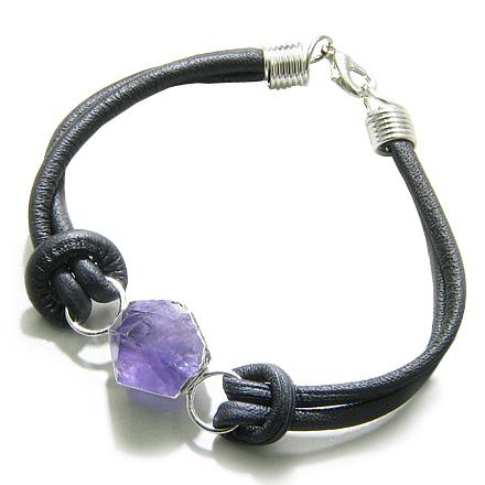 Brazilian Lucky Crystal Point Amethyst Gemstone Travel Protection Amulet Genuine Leather Bracelet