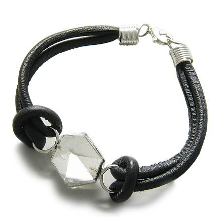 Brazilian Lucky Crystal Point Rock Quartz Gemstone Dipped in Silver Genuine Leather Bracelet