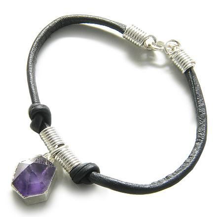 Brazilian Lucky Charm Crystal Point Amethyst Gemstone Safe Travel Amulet Genuine Leather Bracelet