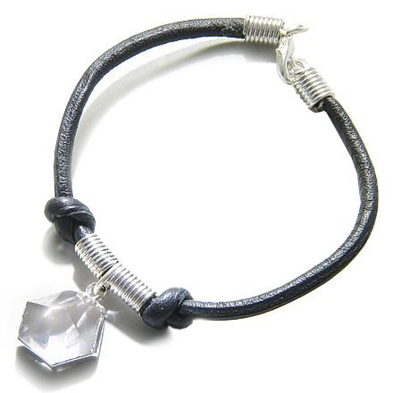 Brazilian Lucky Charm Crystal Point Rock Quartz Gemstone Evil Protection Amulet Leather Bracelet