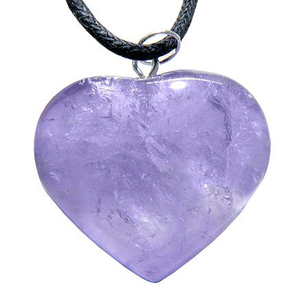 Brazilian Crystal Puffy Heart Amethyst Gemstone Lucky Charm Pendant Necklace