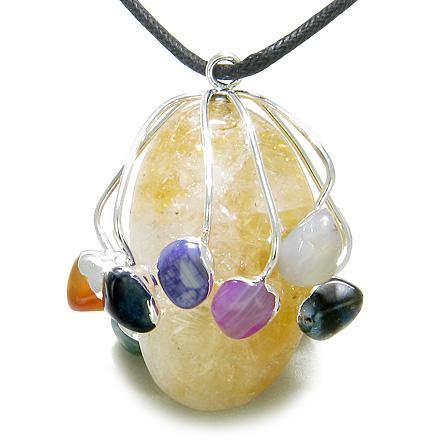 Brazilian Lucky Crystal Charm Large Tumbled Citrine with Multi Gemstones Pendant Necklace