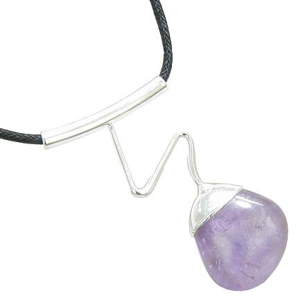 Brazilian Healing Crystal Tumbled Amethyst Gemstone Dipped in Silver Electroplated Wavy Necklace