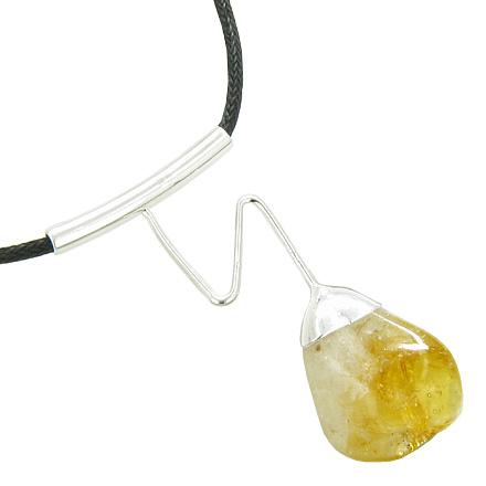 Brazilian Lucky Charm Business Attractor Crystal Tumbled Citrine Gemstone Wavy Necklace