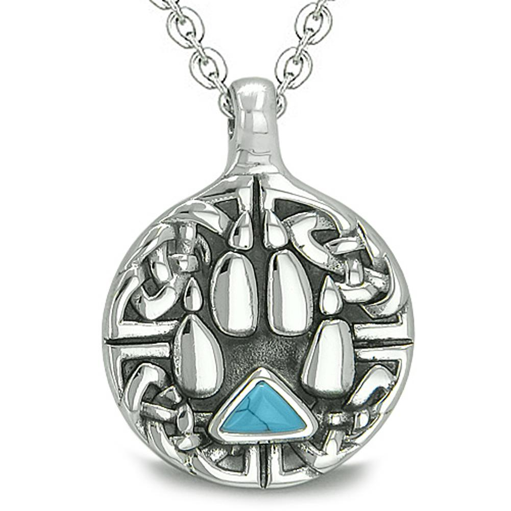 Amulet Celtic Shield Knot Wolf Paw Protection Charm Triangle Energy Turquoise Pendant Necklace