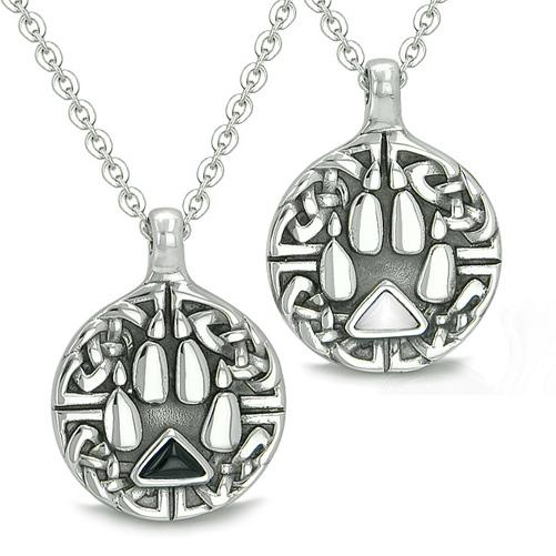 Amulets Love Couple Best Friends Celtic Shield Wolf Paw Yin Yang Triangle Onyx Cats Eye Necklaces