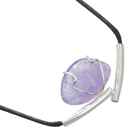 Brazilian Lucky Charm Tumbled Amethyst Crystal Silver Electroplated Up Side Tubes Necklace