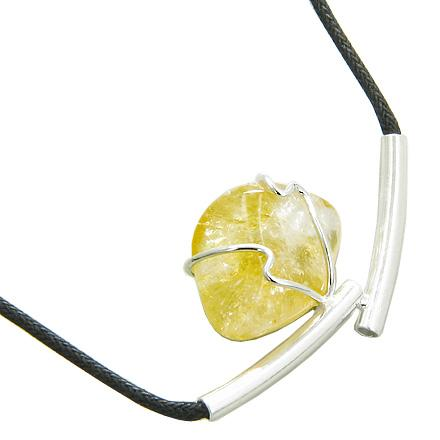 Brazilian Lucky Charm Tumbled Citrine Crystal Silver Electroplated Up Side Tubes Necklace