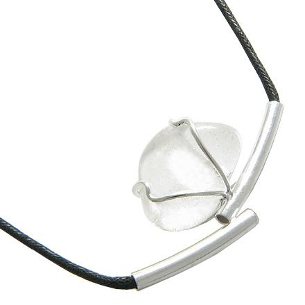 Brazilian Lucky Charm Tumbled Rock Quartz Crystal Silver Electroplated Up Side Tubes Necklace
